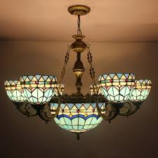 Stained Glass Light Fixtures Dining Room Creative Stained Glass Led Pendant Light American For