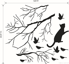 large removable photo frame family tree wall sticker poster 17 cat chasing the birds under tree wall decal sticker black bird on branch art mural poster