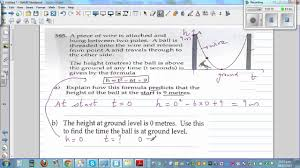 using quadratic equation to model the parabolic path of a ball