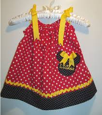 girls red yellow and black polkadot minnie mouse pillowcase dress
