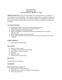 Cnc Machinist Resume Samples by Cnc Machinist Resume Template Examples