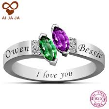 engraved sterling rings images Real 925 sterling silver customized birthstone rings personalized jpg
