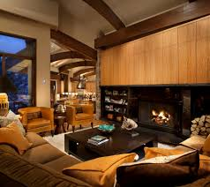 contemporary cabin living room contemporary with medium wood