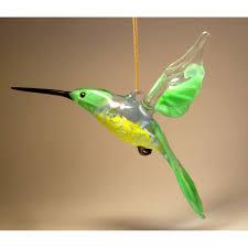 yellow green glass hanging hummingbird ornament glasslilies
