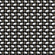 elephant pattern in gold black and white gender neutral design