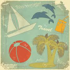 Travel Theme Retro Postcard Summer Travel Theme On Grunge Background Royalty