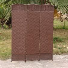 outdoor indoor woven resin 3 panel room divider cappuccino