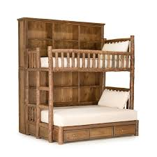 Log Bunk Bed Plans Custom Rustic Bunk Bed With Bookshelves By La Lune Collection