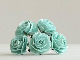 mint green flowers 35mm large mint green roses 5 mulberry paper flower with wire