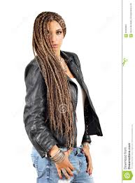 beautiful with dreadlocks hair and leather jacket stock photo