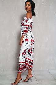white red off the shoulder mid sleeve side slit casual maxi dress