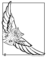 Patterned Flying Owl Drawing Illustration Owl Coloring Pages Flying Owl Coloring Page Jr To