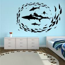 popular diver wall art buy cheap lots from china shark diving fish sea diver sharks vinyl wall art sticker decal removable bathroom wallpaper mural stickers