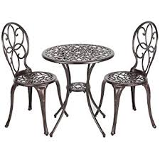 Indoor Bistro Table And Chairs Amazon Com Oakland Living 3 Piece Rose Bistro Set With 23 5 Inch