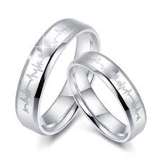 silver wedding ring heart and heartbeat engraved promise rings set for women men