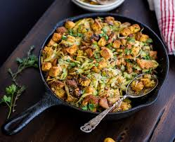 gluten free cornbread with chestnuts leeks and