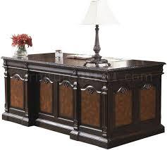 Classic Office Desks Tone Brown Classic Office Desk W Carving Details