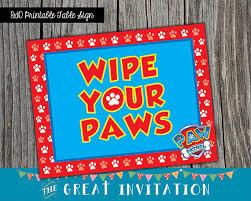 Buy Wipe Your Paws Door Paw Patrol Party Wipe Your Paws Sign Paw Patrol Party