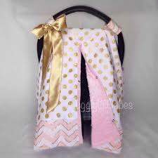 Free Carseat Canopy Pattern by Pink Gold Carseat Cover Velcro Straps With Satin Bow Baby Pink