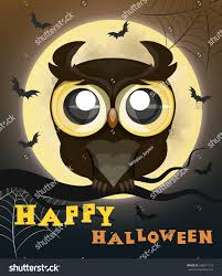owl halloween background cartoon owl on moon backgroundhalloween postervector stock vector
