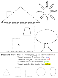 shape recognition worksheet mixed shapes house