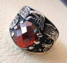men rings style images Red ruby imitation oval stone arabic men ring sterling silver jpg