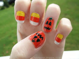 hey nice tips candy corn pumpkin nails