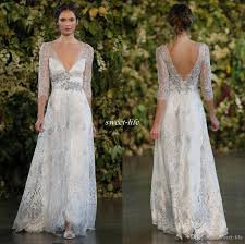 silver dresses for a wedding discount vintage 2016 silver lace wedding dresses a line plunging