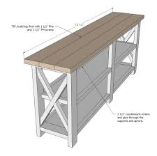 Woodworking Plans Projects 2012 05 Pdf by Ana White Rustic X Console Diy Projects