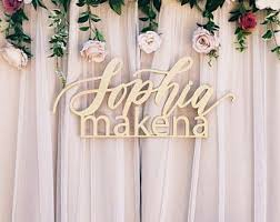 wedding backdrop sign custom medium stacked names 1st birthday sign backdrop