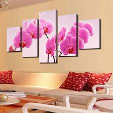 5 piece modern wall painting pink orchid flower on canvas painting 5 piece modern wall painting pink orchid flower on canvas painting for living room wall decor