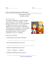 Reading Comprehension Worksheets 4th Grade 1st Grade Reading Stories Worksheet Format And Example