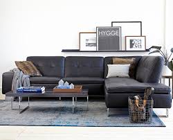 Black Sofa Sectional Leather Sectional Left Seated Scandinavian Designs