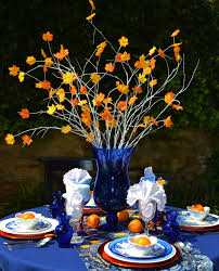 Arcadia Floral And Home Decor Cobalt Blue And Orange Leaf Tablescape Sassy Fall Table Decor