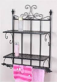 Wrought Iron Bathroom Shelves Towel Rack Shelf Furniture Brown Wood Bathroom Towel Rack Ideas
