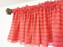 Ruffled Kitchen Curtains Coral Valance Coral Ruffle Curtains Coral Curtain