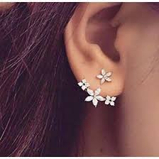 earring on ear buy flower ear jacket earrings at kandy couture