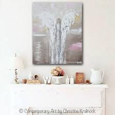 Contemporary Art Home Decor Original Abstract Angel Painting Beige White Pink Textured Wall