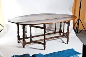 Oval Drop Leaf Dining Table Large Vintage Oval Drop Leaf Dining Table C 1980 For Sale