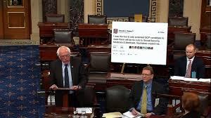 bernie sanders vermont house bernie sanders brings poster of trump tweet to senate cnn video