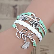 infinity love leather bracelet images Love leather love owl leaf charm handmade bracelets buycoolprice jpg