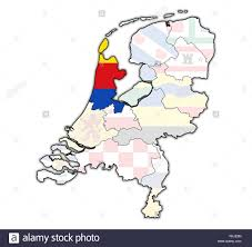 netherlands map flag flag on map with borders of provinces in netherlands