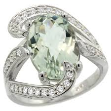 green amethyst engagement ring 14k white gold green amethyst engagement ring engagement