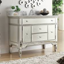 adelina 44 inch mirrored bathroom vanity white carrara marble
