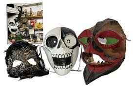 halloween feather masks lot detail ray bradbury personally owned trio of masks one