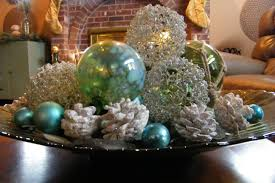 furniture table decoration with green and ball christmas
