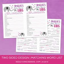 Halloween Mad Libs Printable Free by Baby Shower Mad Lib Game Elephants Personalized Printable