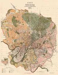 moscow map world historical map prints of moscow москва moskva in russia for