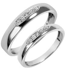 trio wedding sets 1 5 carat t w diamond his and hers wedding band set 14k white gold