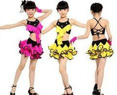 kids samba child tassels green yellow sequined dress kids